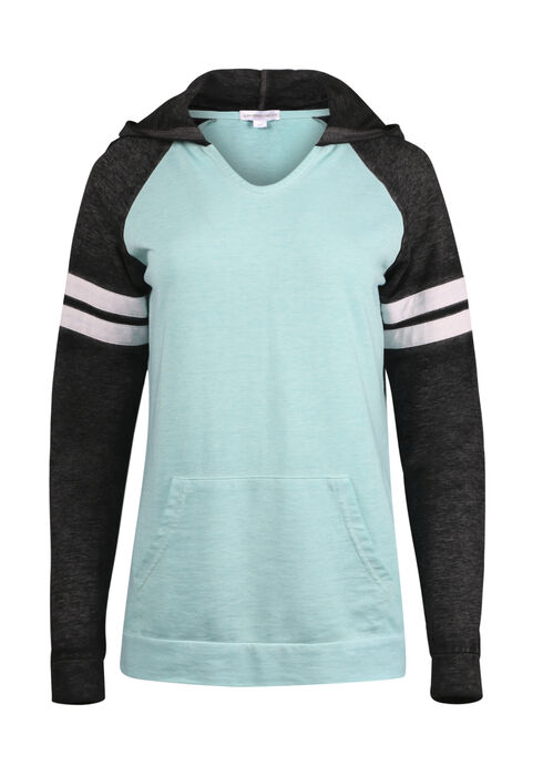 Ladies' Colour Block Football Hoodie, AQUAMARINE, hi-res