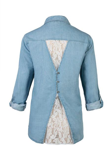 Ladies' Chambray Shirt, LIGHT VINTAGE WASH, hi-res