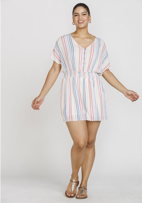 Women's Multi Stripe Romper, MULTI, hi-res