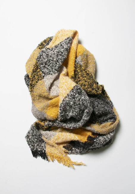 Women's Colour Block Blanket Scarf, MUSTARD, hi-res