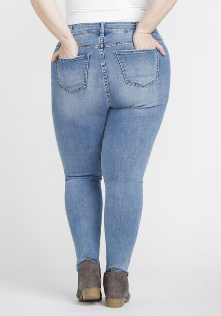Women's Plus Size Distressed High Rise Skinny Jeans, DENIM, hi-res
