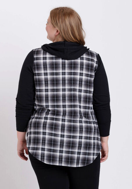 Women's Hooded Plaid Shirt, BLK/WHT, hi-res