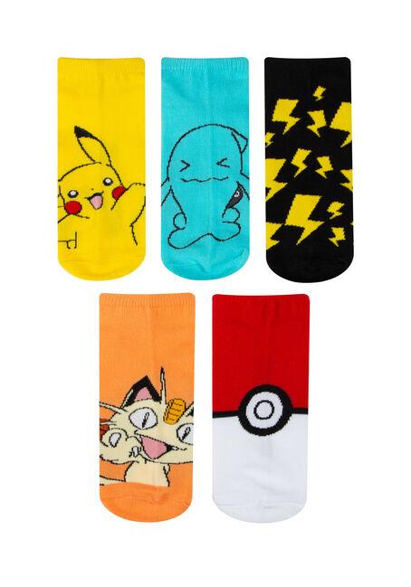 Men's 5 Pair Pokemon Socks, MULTI, hi-res