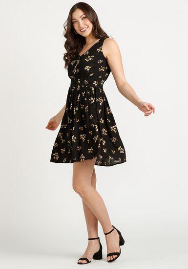 Women's Babydoll Smocked Dress, BLACK, hi-res