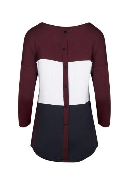 Ladies' Stripe Button Back Top, WINE, hi-res
