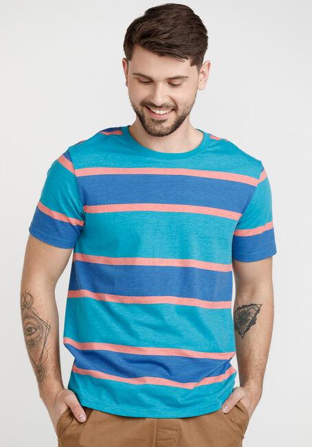 Men's Printed Stripe Crew Neck Tee