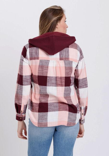 Women's Flannel Hooded Plaid Shirt, BURGUNDY, hi-res