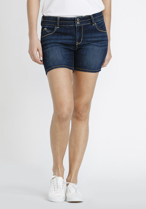 Women's Mid Rise Short, DARK WASH, hi-res