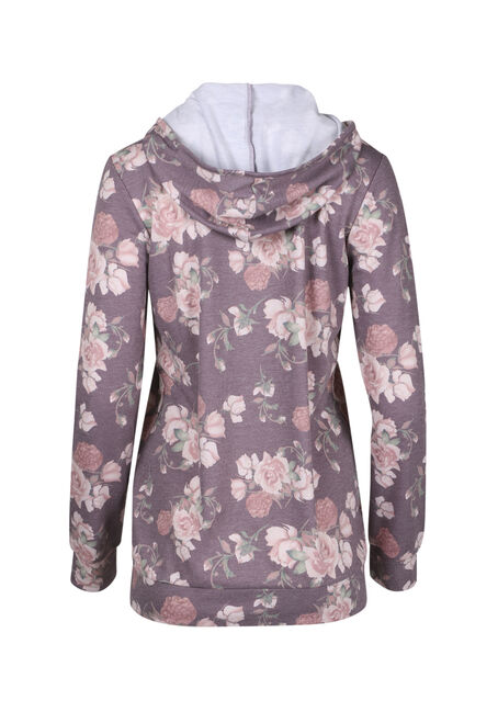 Ladies' Floral Hooded Tee, CARDINAL, hi-res