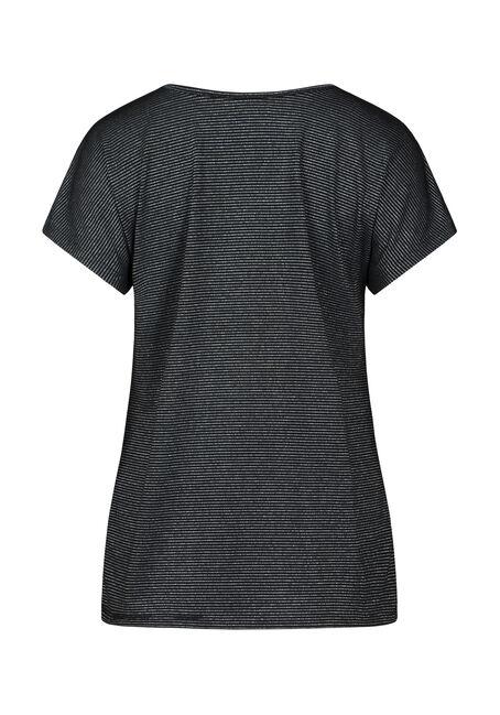 Women's Shimmer Stripe Tee, BLACK, hi-res