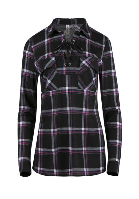 Ladies' Lace Up Knit Plaid Shirt
