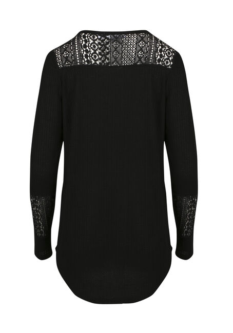 Ladies' Crochet Insert Peasant Top, BLACK, hi-res