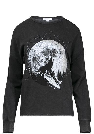 Women's Wolf Graphic Sweatshirt, BLACK, hi-res