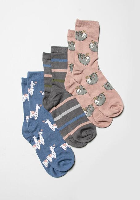 Ladies Sloth Llama 3 Pack Crew Sock