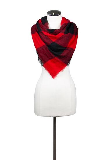 Women's Plaid Blanket Scarf, RED, hi-res
