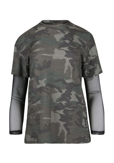 Ladies' Camo Mesh Sleeve Tee