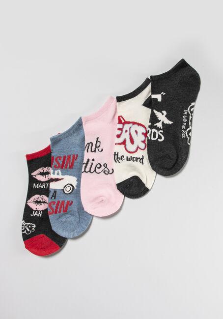Women's 5 Pair Grease Socks, MULTI, hi-res