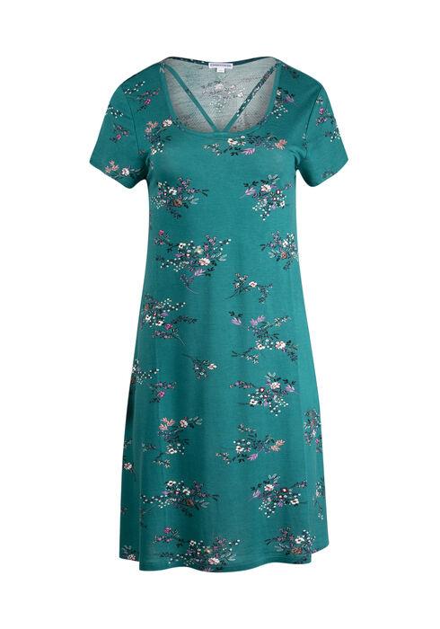 Women's Floral A-Line Dress, TEAL, hi-res