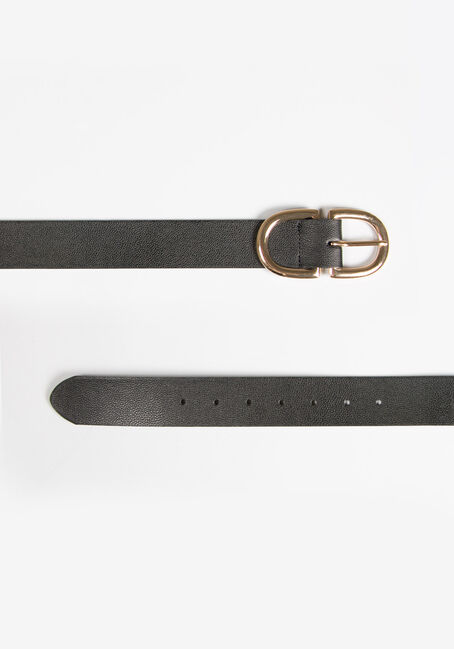 Women's D Ring Buckle Belt, BLACK, hi-res