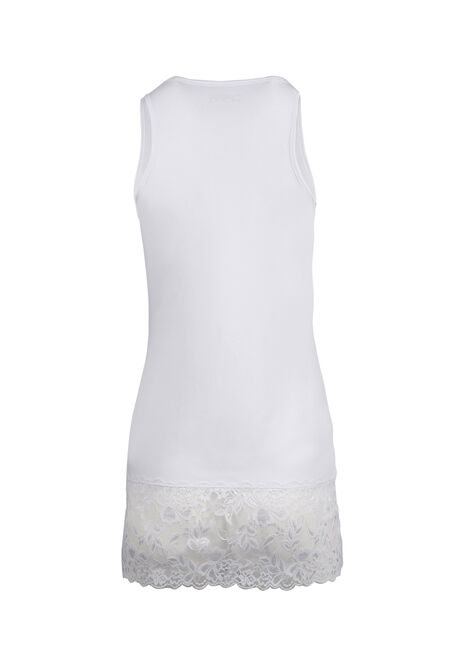 Ladies' Lace Trim Tunic Tank, WHITE, hi-res