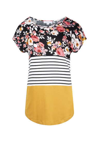 Women's Floral Colour Block Top, MUSTARD, hi-res
