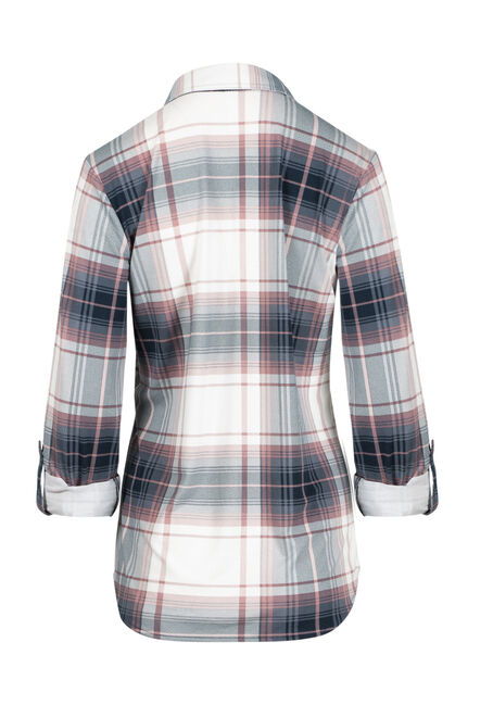 Women's Relaxed Fit Knit Plaid Shirt, BLUE, hi-res