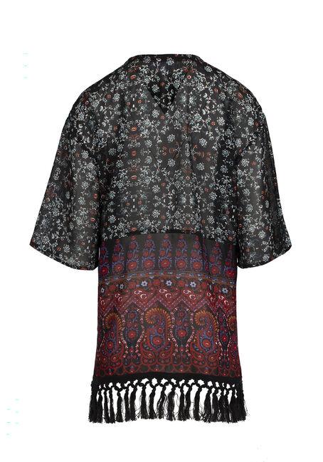 Ladies' Paisley Print Kimono, NAVY, hi-res