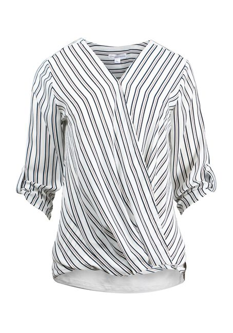 Women's Stripe Cross Front Top, IVORY, hi-res