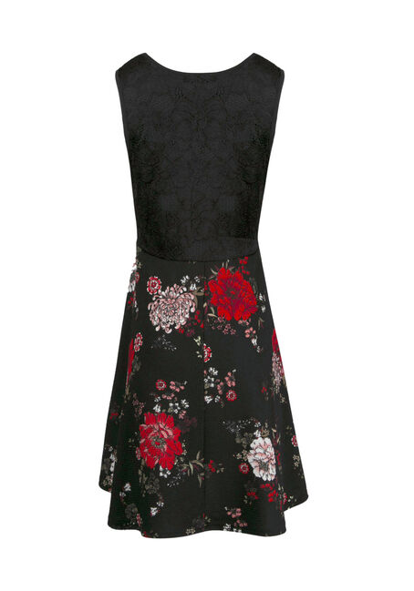 Women's Dark Florals Skater Dress, BLACK, hi-res