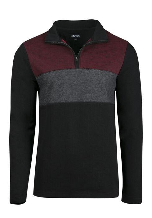 Men's 1/4 Zip Rib Knit Top, BLACK, hi-res