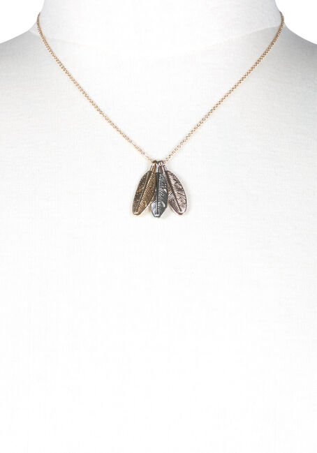 Women's Feather Charms Necklace, MIXED METALS, hi-res