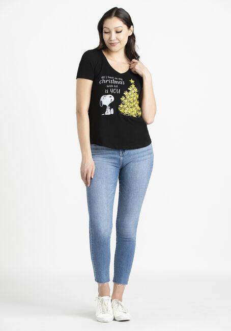 Women's Snoopy V Neck Tee, BLACK, hi-res