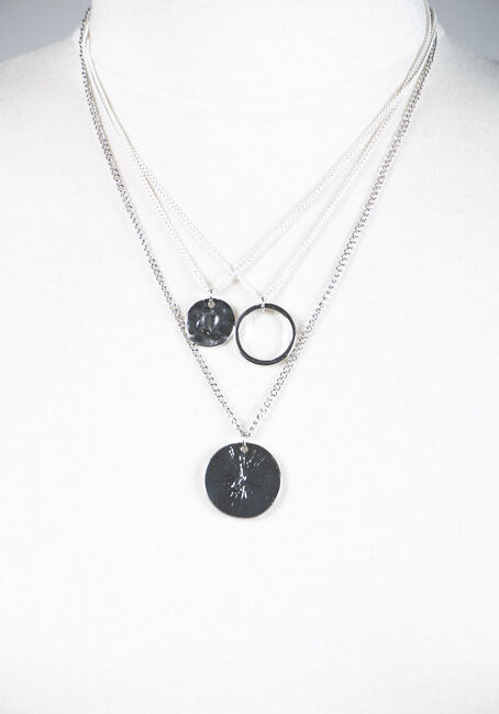 Layered Pendant Necklace, silver, hi-res