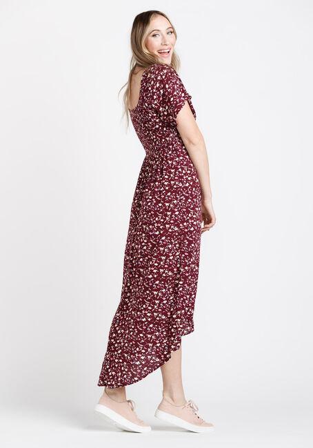 Women's Hi Low Dress, BURGUNDY, hi-res