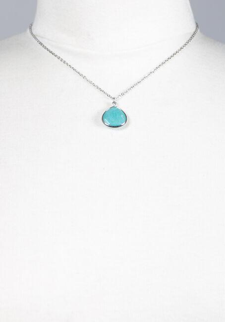 Women's Turquoise Stone Necklace, RHODIUM, hi-res
