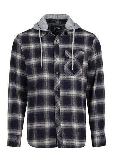 Men's Plaid Hooded Shirt Jacket, INK, hi-res
