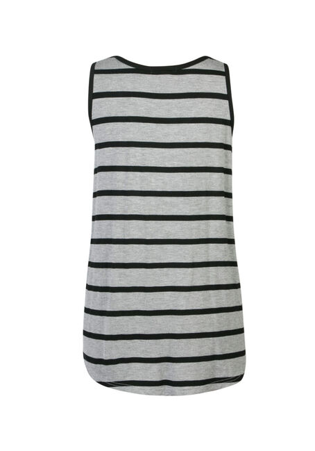 Ladies' Stripe Scoop Neck Tank, H.GREY/BLACK, hi-res