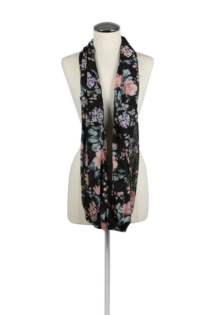 Women's Floral Infinity Scarf, BLACK, hi-res