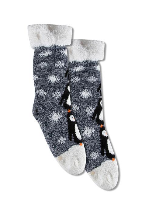 Women's Penguins Slipper Socks, BLUE, hi-res