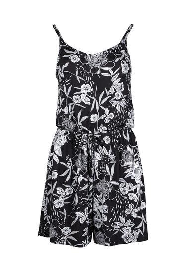 Women's Floral Print Romper, BLK/WHT, hi-res