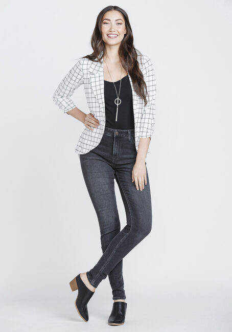 Women's Plaid Chiffon Back Blazer, WHITE, hi-res