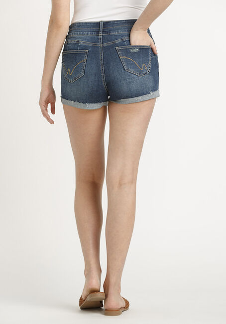 Women's 2 Button Destroyed Cuffed Short, DARK WASH, hi-res