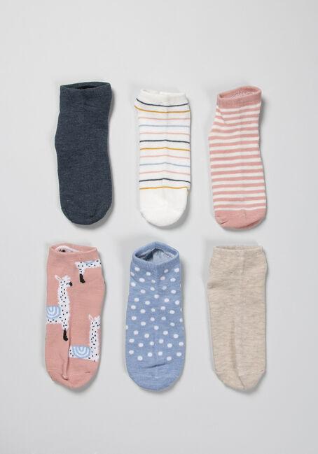 Women's 6 Pack Ankle Socks, PINK/GREY, hi-res