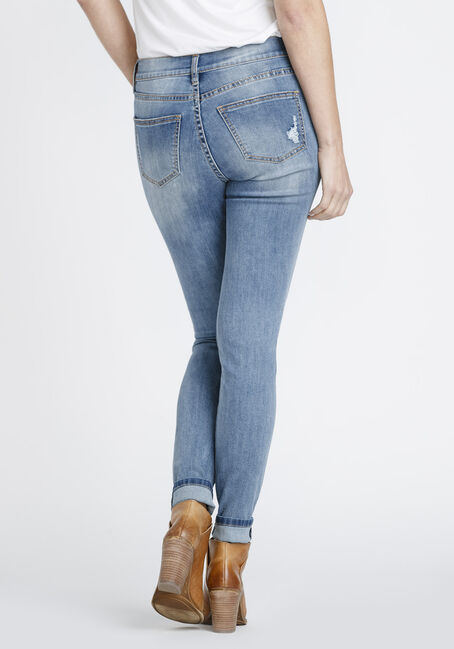 Women's Exposed Button Fly Shredded Skinny Jeans, MEDIUM WASH, hi-res