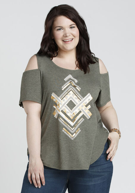 Ladies' Chevron Cold Shoulder Tee, IVY, hi-res