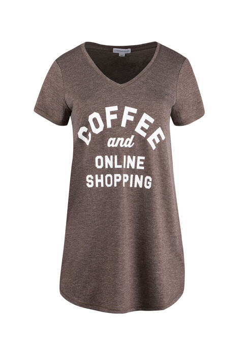 Ladies' Coffee and Online Shopping Tee, HEATHER BROWN, hi-res