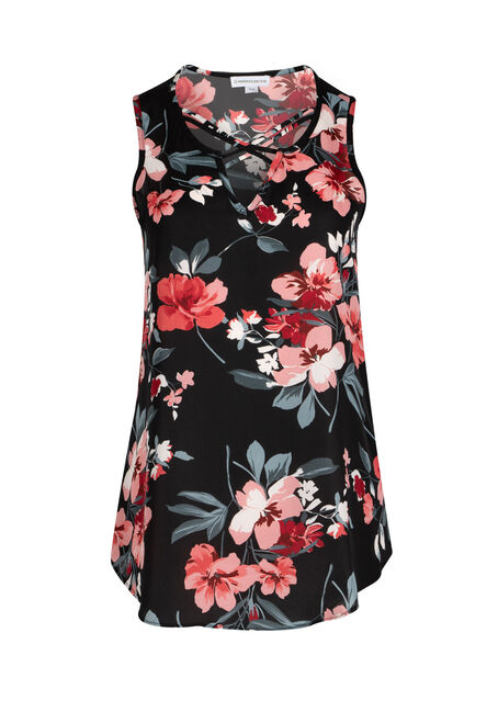 Ladies' Cage Neck Floral Tank
