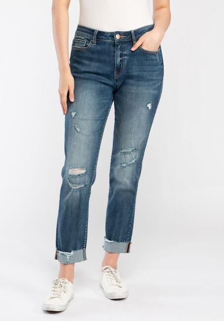 Women's Destroyed Cuffed Girlfriend Jeans