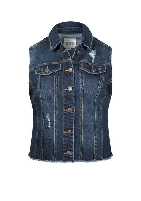 Women's Frayed Hem Denim Vest