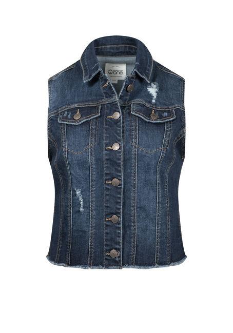 Women's Frayed Hem Denim Vest